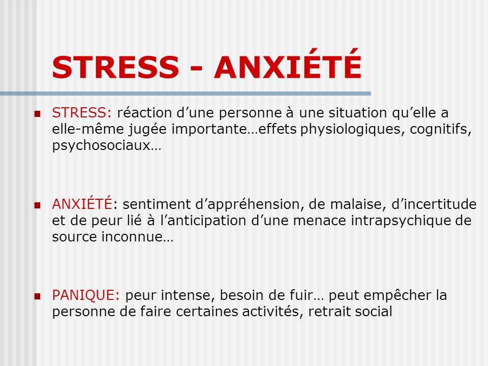 STRESS - ANXIÉTÉ