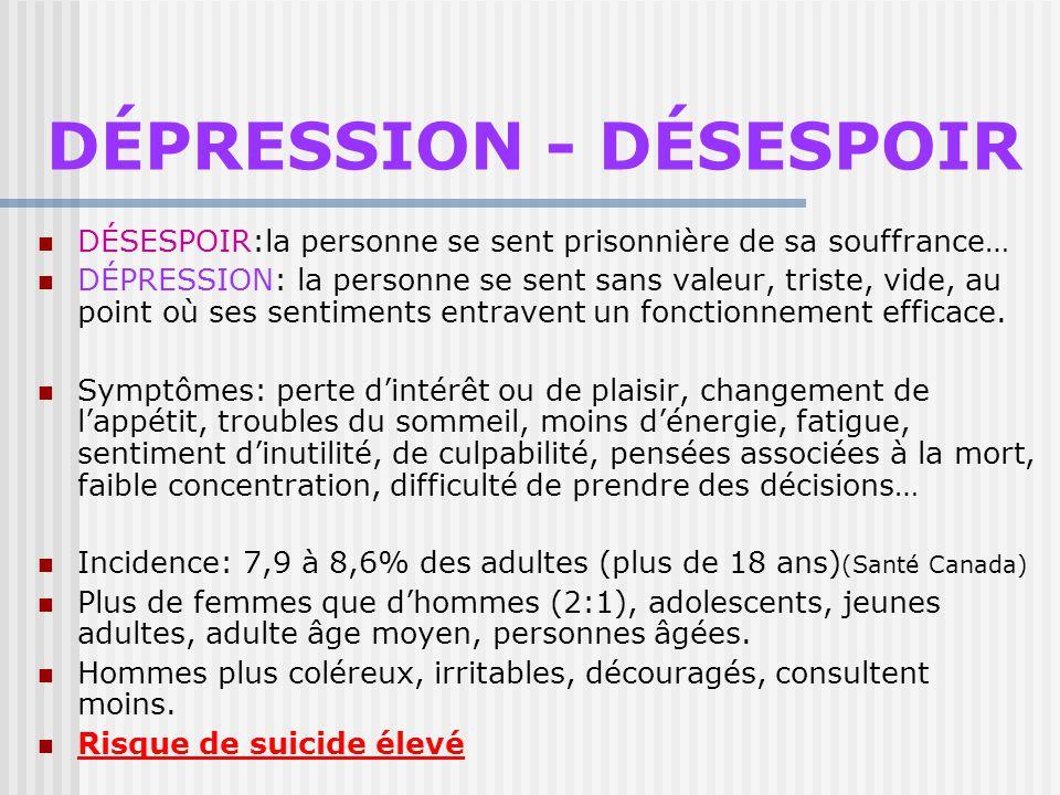 DÉPRESSION - DÉSESPOIR
