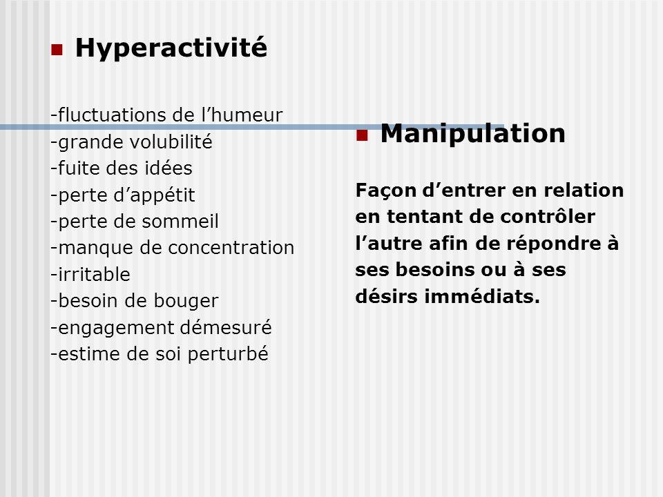 Hyperactivité Manipulation -fluctuations de l'humeur