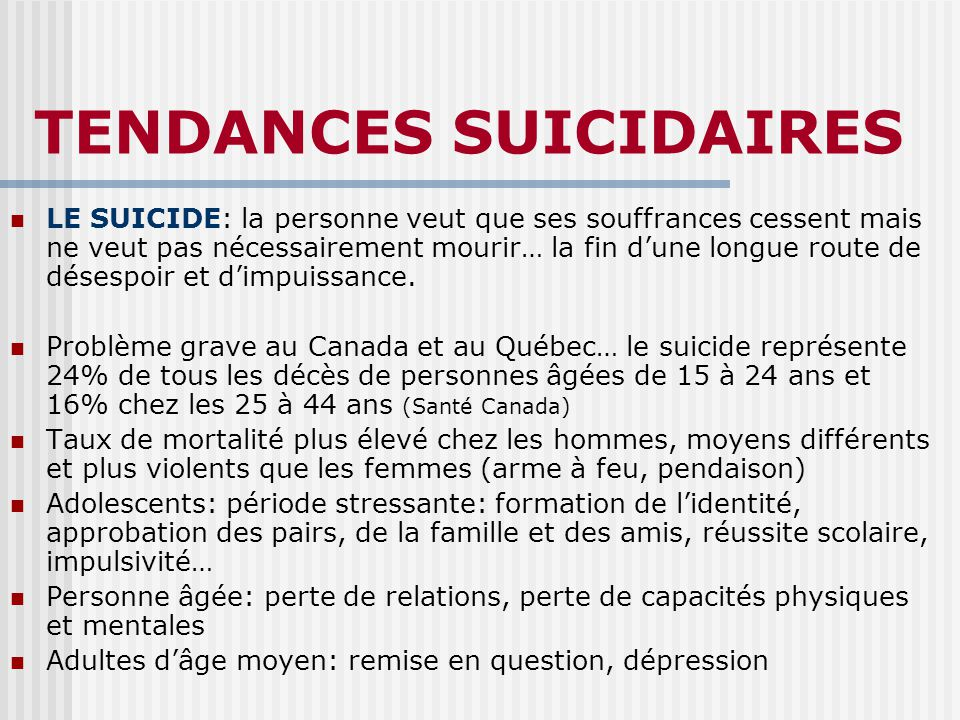 TENDANCES SUICIDAIRES
