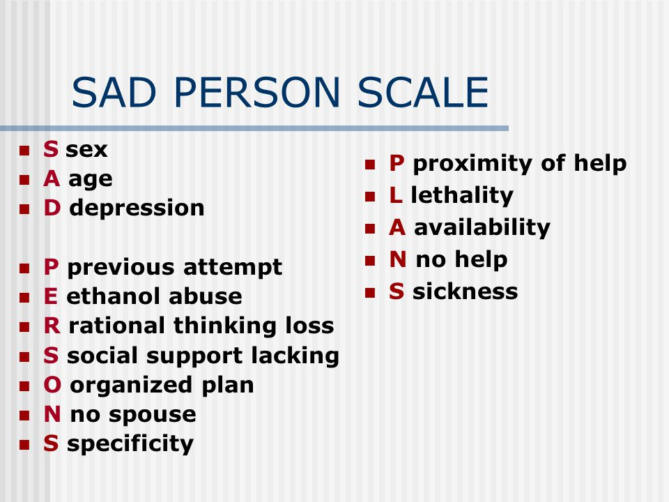 SAD PERSON SCALE S sex A age P proximity of help L lethality