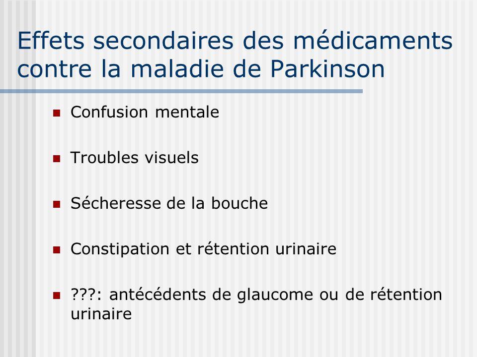 Effets secondaires des médicaments contre la maladie de Parkinson