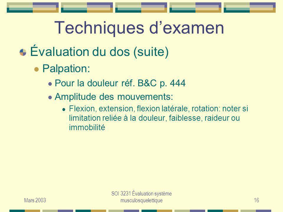 SOI 3231 Évaluation système musculosquelettique