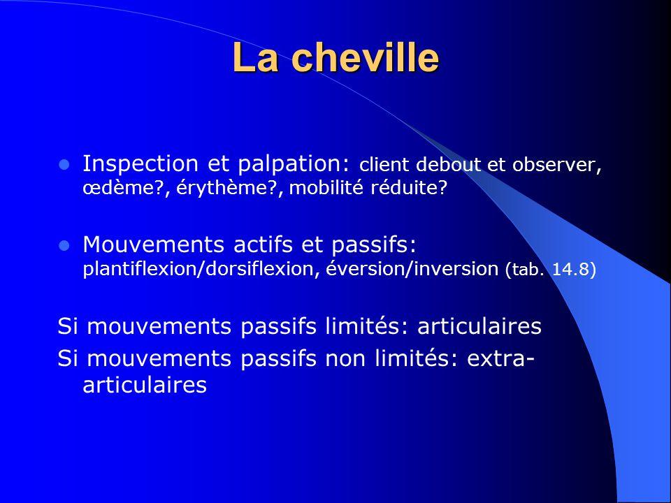 La cheville Inspection et palpation: client debout et observer, œdème , érythème , mobilité réduite
