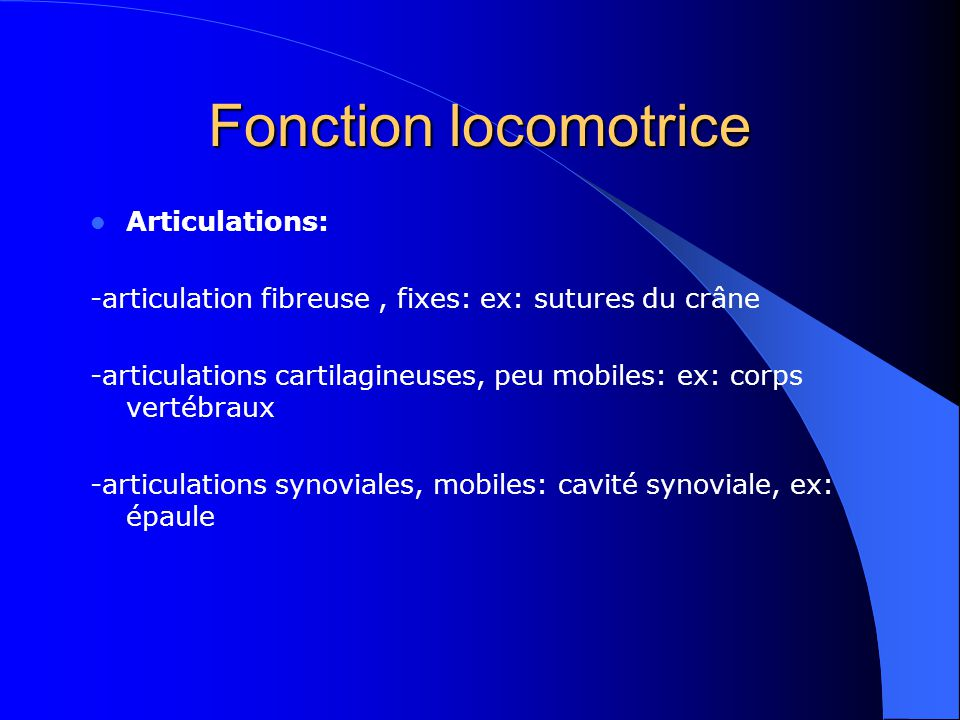 Fonction locomotrice Articulations: