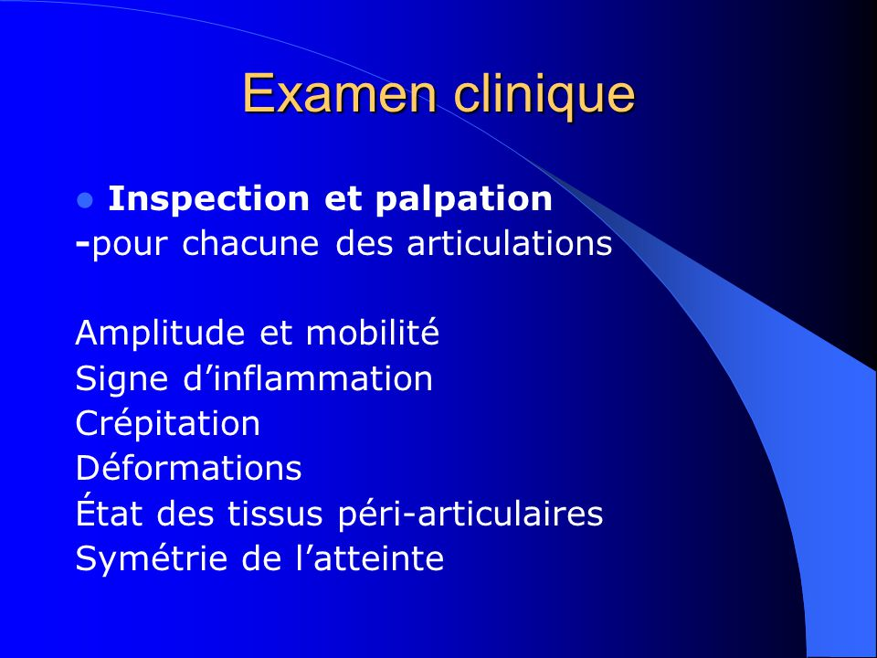 Examen clinique Inspection et palpation