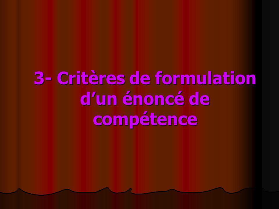 3- Critères de formulation d'un énoncé de compétence
