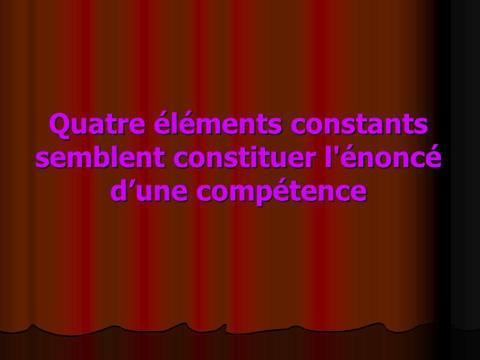 Quatre éléments constants semblent constituer l énoncé d'une compétence