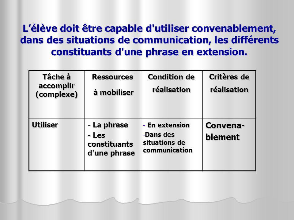 L'élève doit être capable d utiliser convenablement, dans des situations de communication, les différents constituants d une phrase en extension.