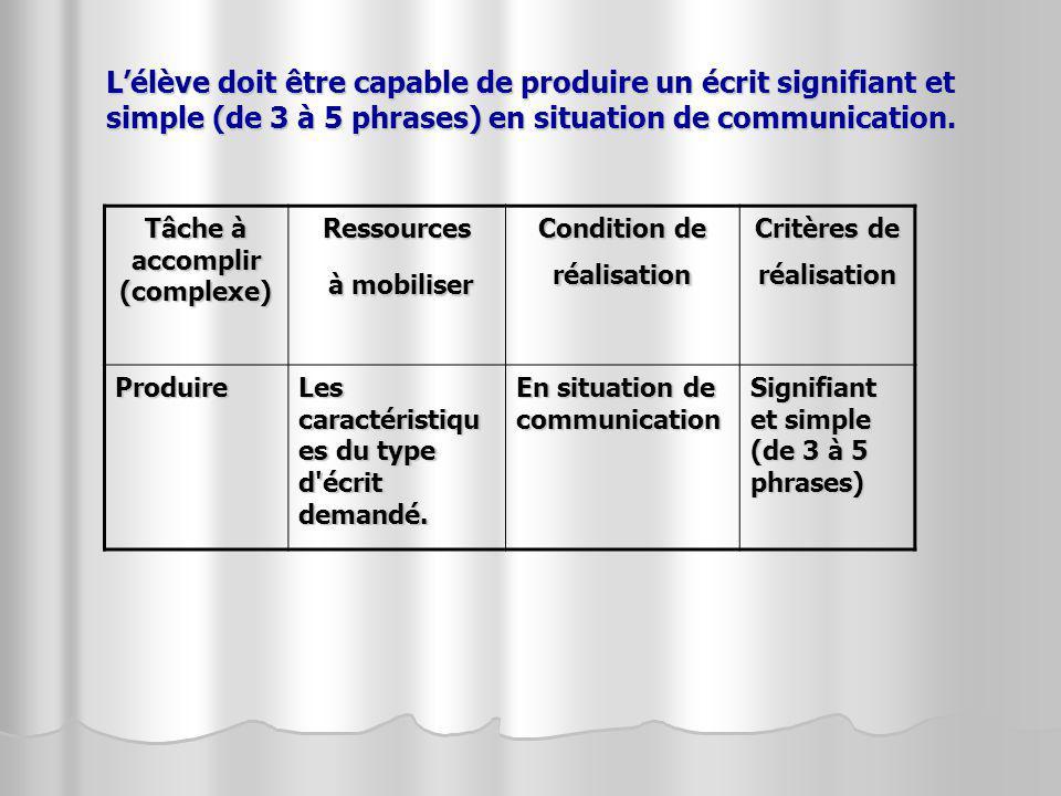 L'élève doit être capable de produire un écrit signifiant et simple (de 3 à 5 phrases) en situation de communication.