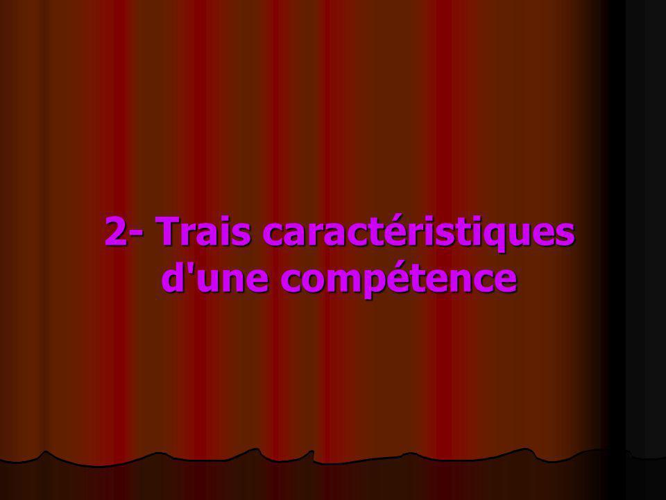 2- Trais caractéristiques d une compétence