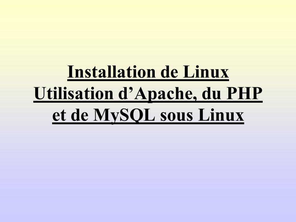 Installation de Linux Utilisation d'Apache, du PHP et de MySQL sous Linux