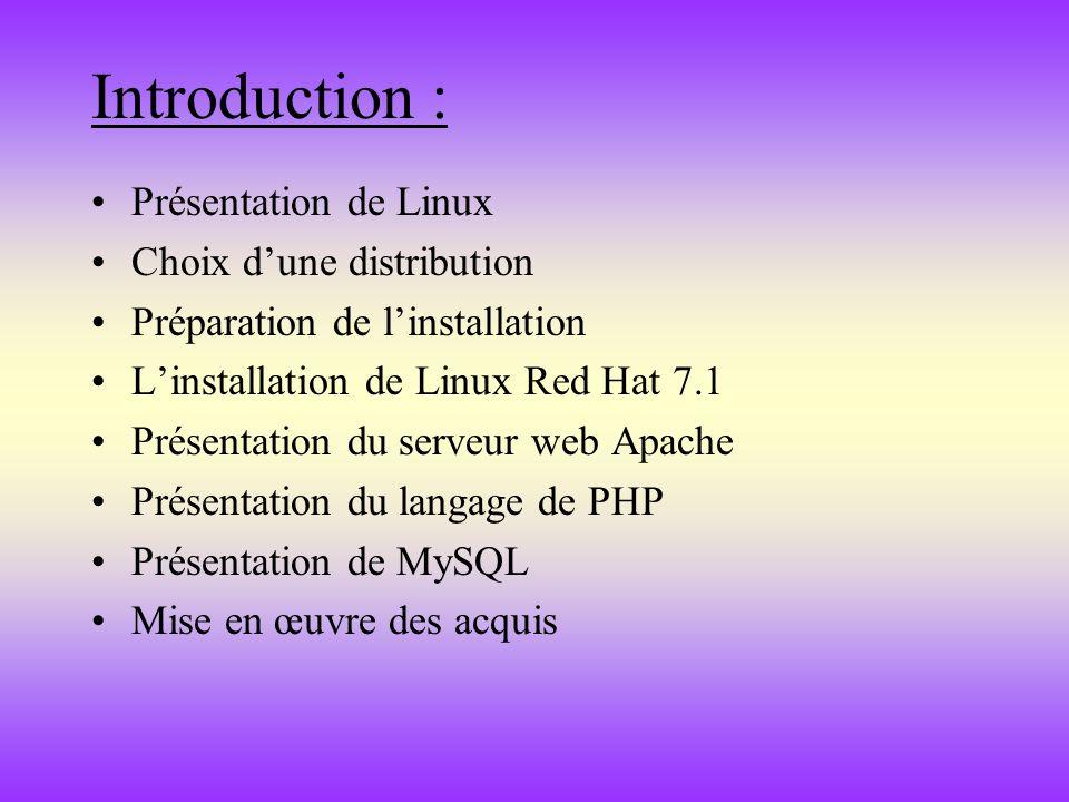 Introduction : Présentation de Linux Choix d'une distribution