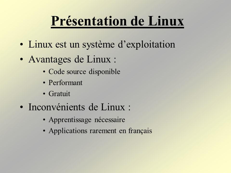 Présentation de Linux Linux est un système d'exploitation