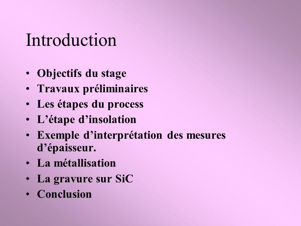 Introduction Objectifs du stage Travaux préliminaires