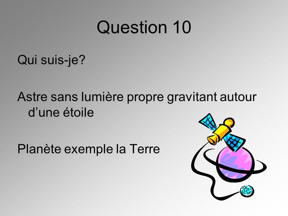 Question 10 Qui suis-je. Astre sans lumière propre gravitant autour d'une étoile.