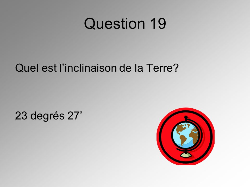 Question 19 Quel est l'inclinaison de la Terre 23 degrés 27'