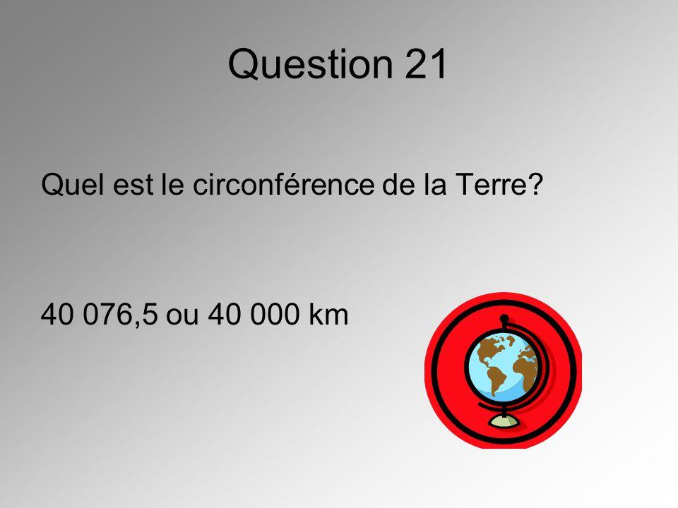 Question 21 Quel est le circonférence de la Terre