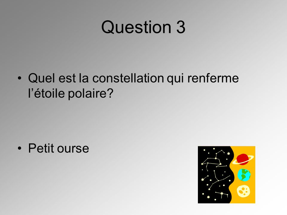 Question 3 Quel est la constellation qui renferme l'étoile polaire