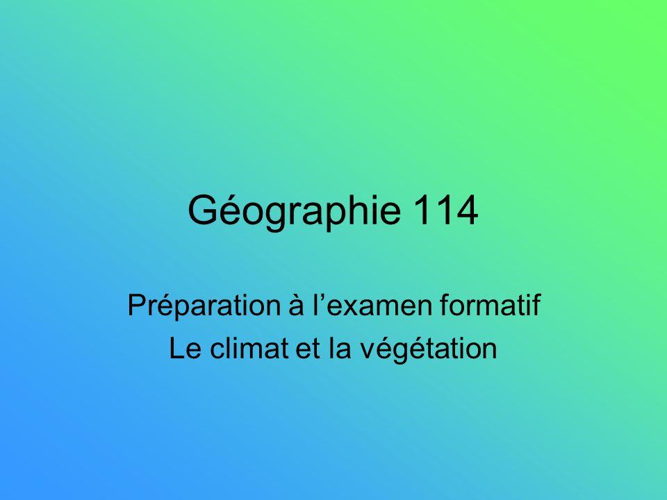 Préparation à l'examen formatif Le climat et la végétation