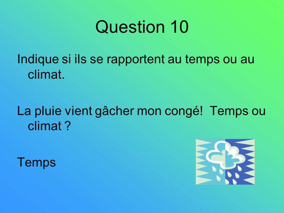 Question 10 Indique si ils se rapportent au temps ou au climat.