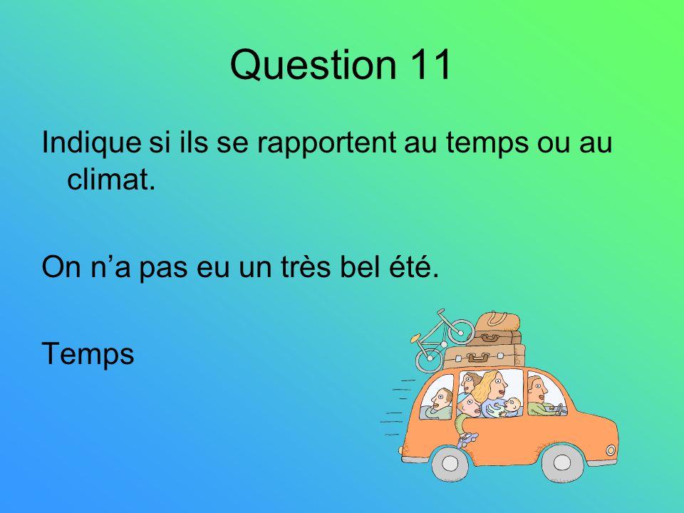 Question 11 Indique si ils se rapportent au temps ou au climat.
