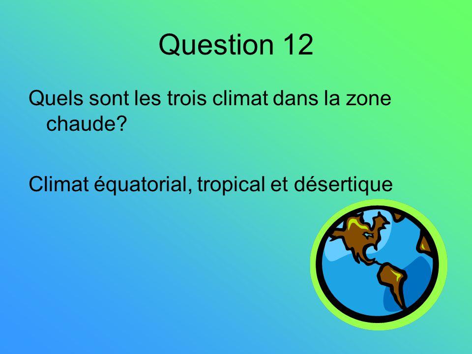 Question 12 Quels sont les trois climat dans la zone chaude