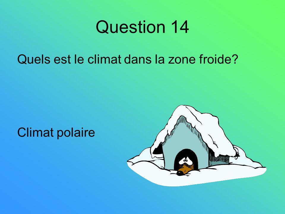 Question 14 Quels est le climat dans la zone froide Climat polaire