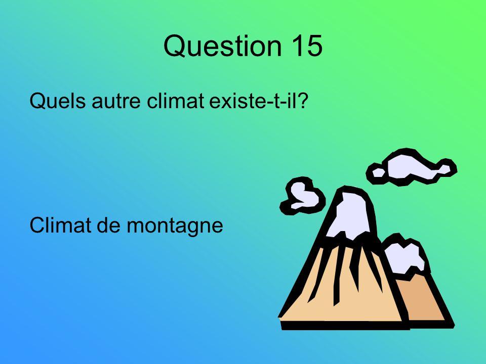 Question 15 Quels autre climat existe-t-il Climat de montagne