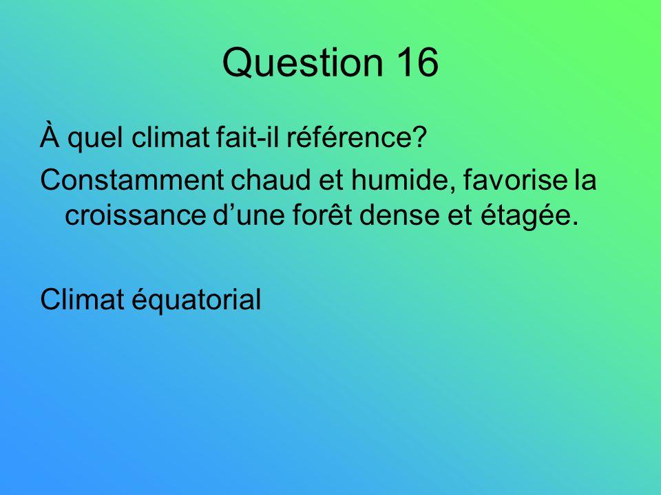 Question 16 À quel climat fait-il référence