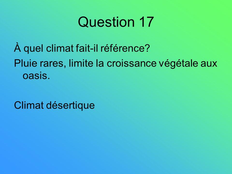 Question 17 À quel climat fait-il référence