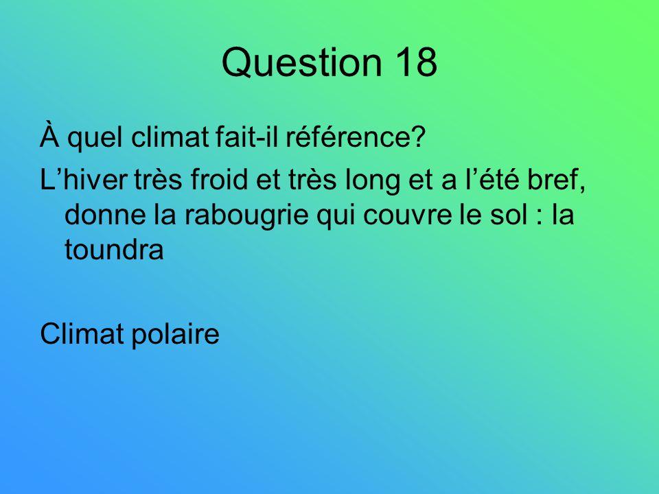 Question 18 À quel climat fait-il référence
