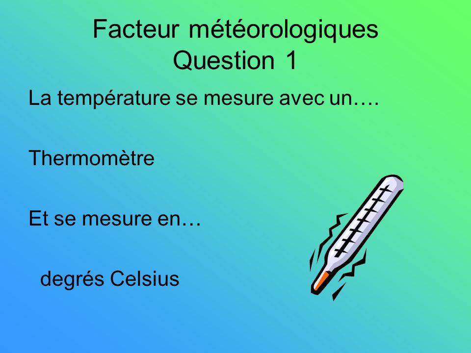 Facteur météorologiques Question 1