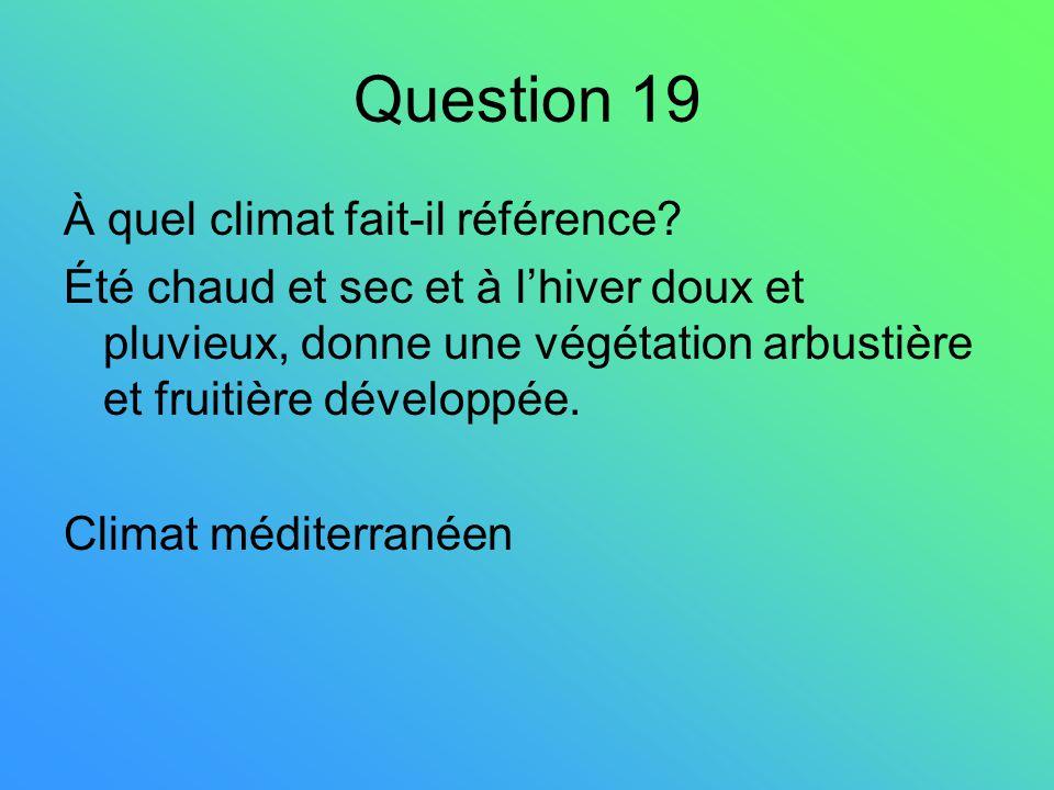 Question 19 À quel climat fait-il référence