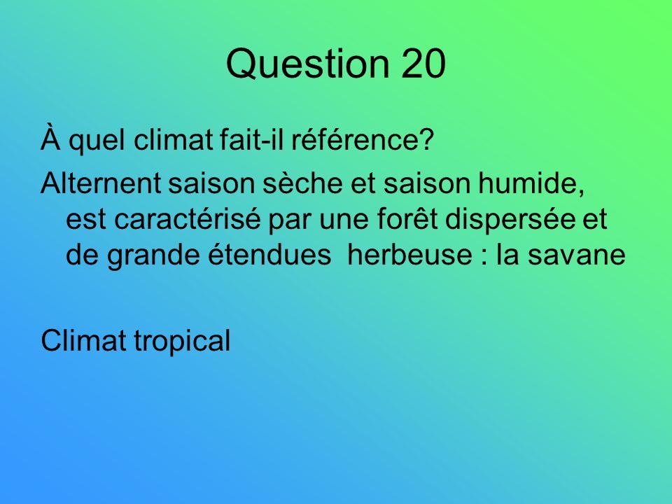 Question 20 À quel climat fait-il référence