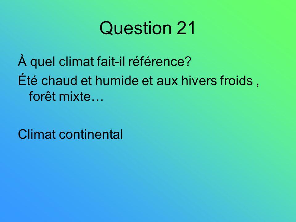 Question 21 À quel climat fait-il référence