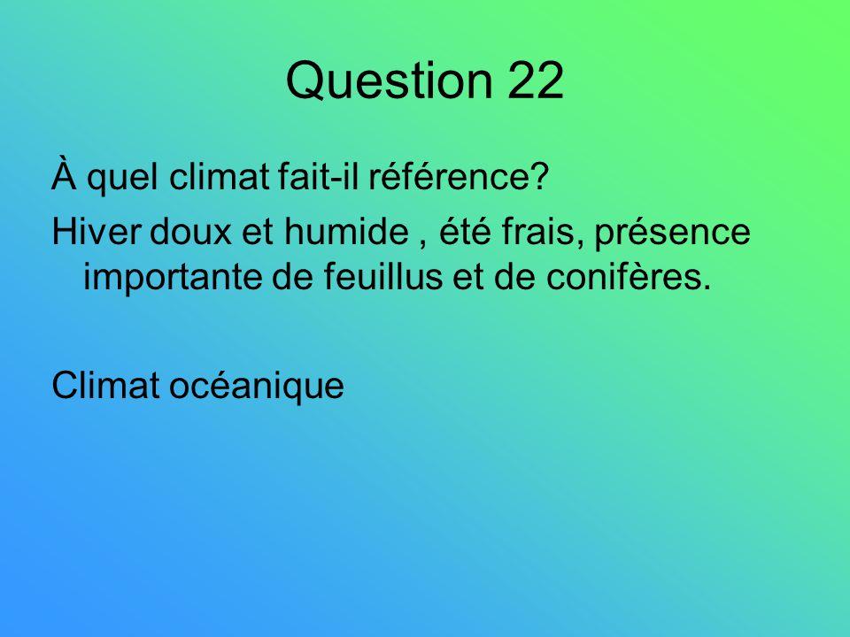 Question 22 À quel climat fait-il référence