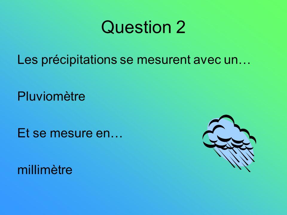 Question 2 Les précipitations se mesurent avec un… Pluviomètre