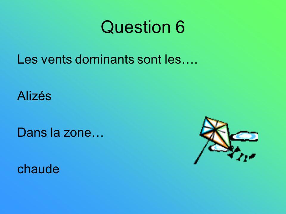 Question 6 Les vents dominants sont les…. Alizés Dans la zone… chaude