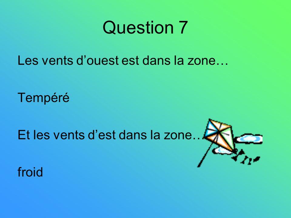 Question 7 Les vents d'ouest est dans la zone… Tempéré
