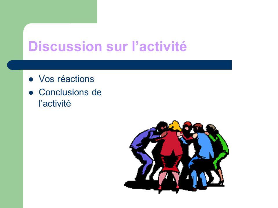 Discussion sur l'activité