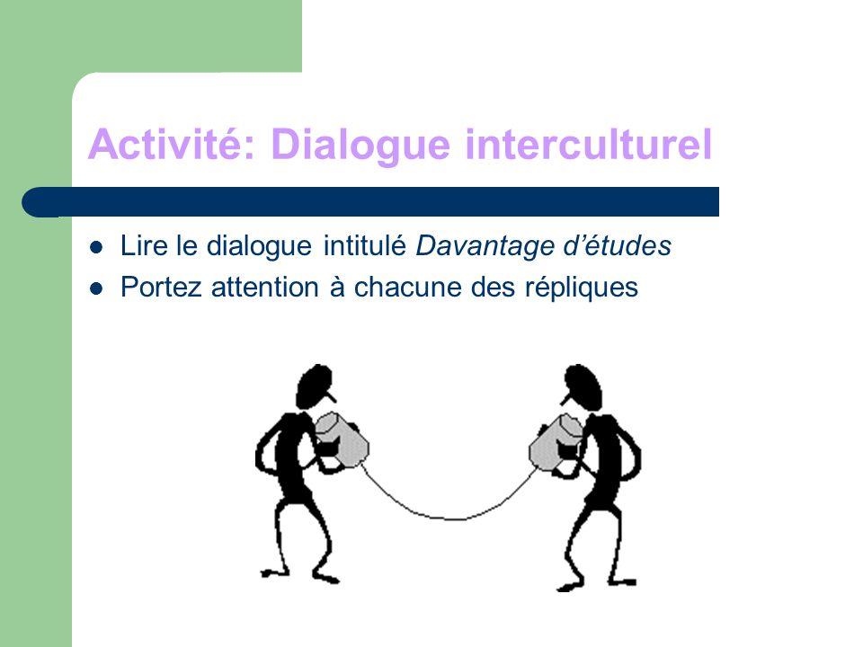 Activité: Dialogue interculturel