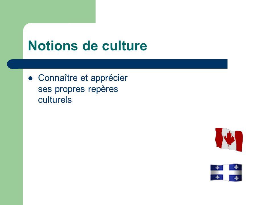 Notions de culture Connaître et apprécier ses propres repères culturels