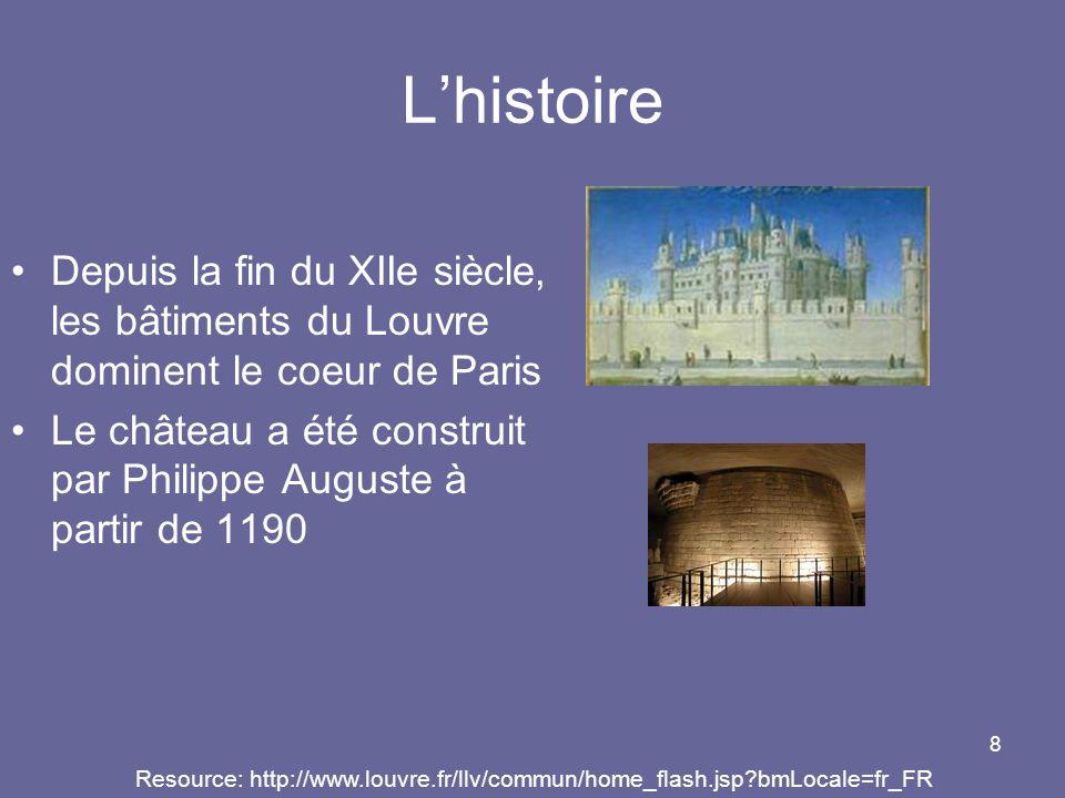 L'histoire Depuis la fin du XIIe siècle, les bâtiments du Louvre dominent le coeur de Paris.