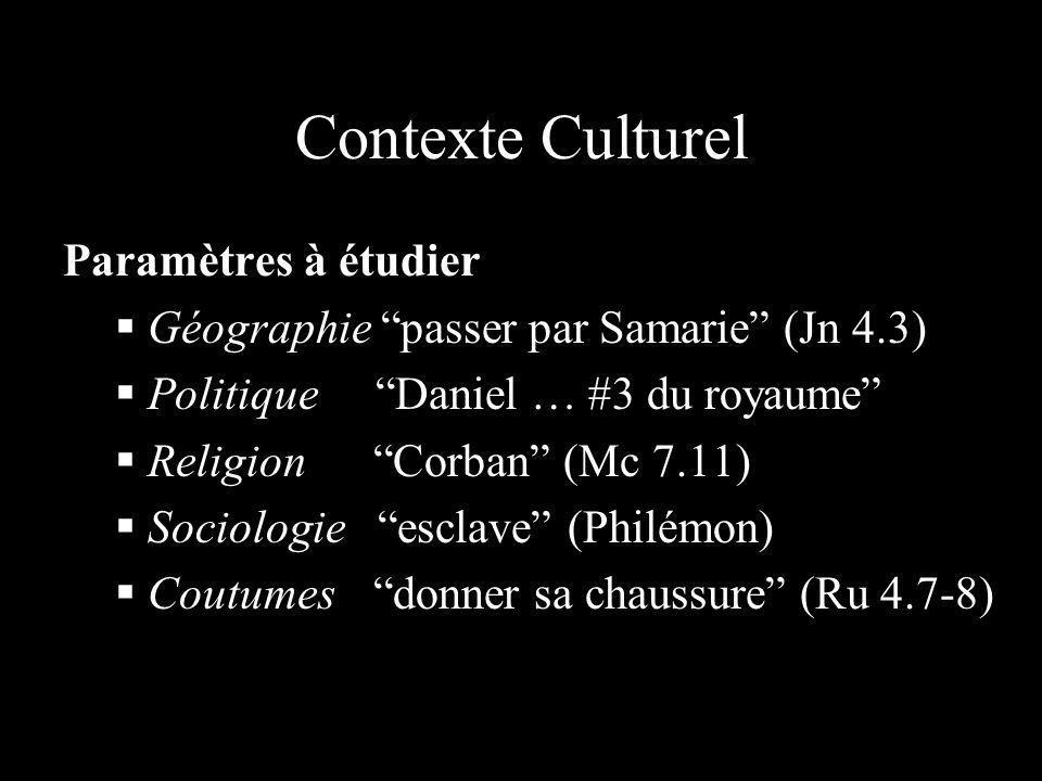 Contexte Culturel Paramètres à étudier