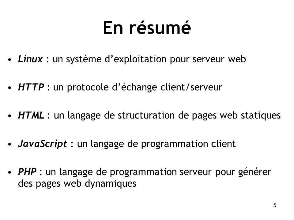 En résumé Linux : un système d'exploitation pour serveur web