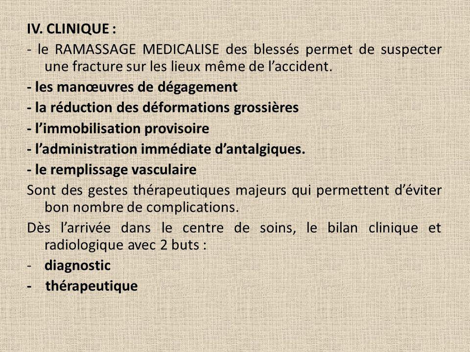 IV. CLINIQUE : - le RAMASSAGE MEDICALISE des blessés permet de suspecter une fracture sur les lieux même de l'accident.