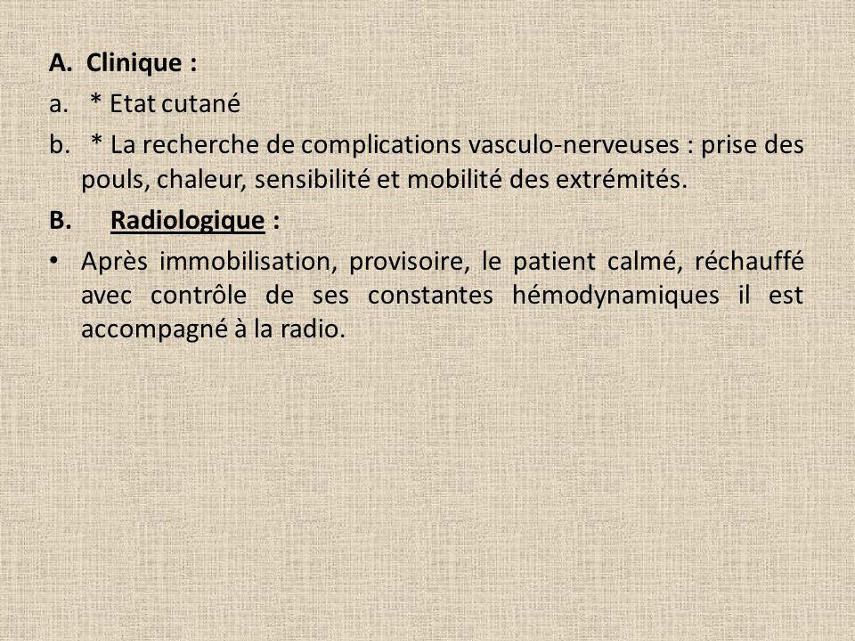 A. Clinique : a. * Etat cutané.