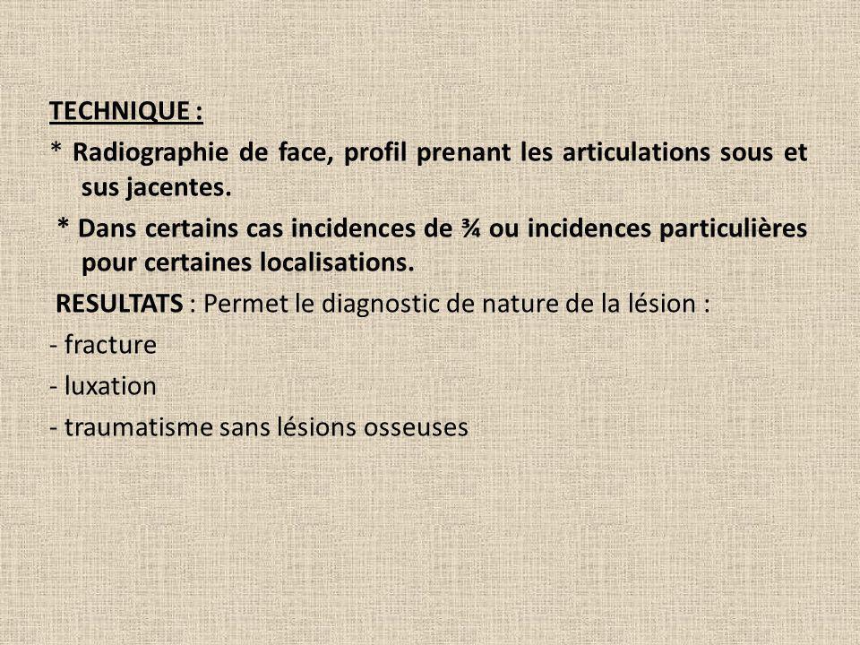 TECHNIQUE : * Radiographie de face, profil prenant les articulations sous et sus jacentes.