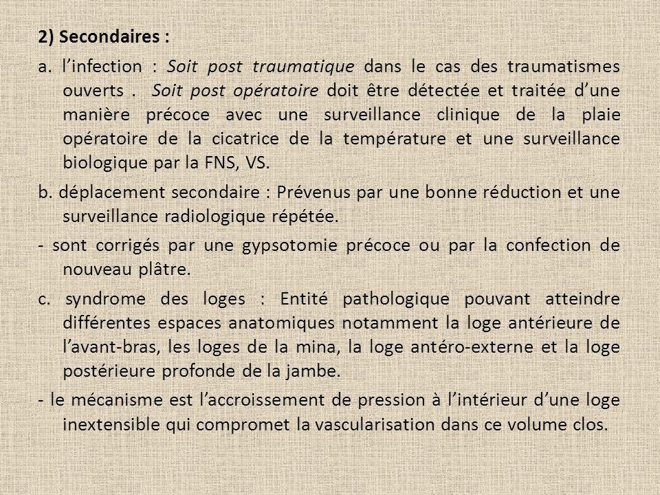 2) Secondaires : a. l'infection : Soit post traumatique dans le cas des traumatismes ouverts .